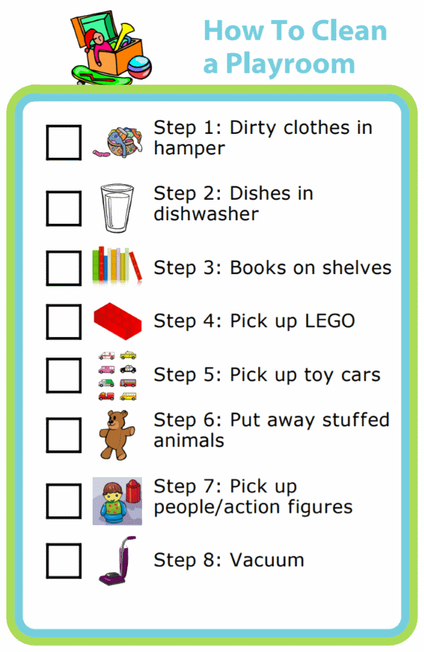 Picture checklists to teach a kid to clean a playroom in 8 steps