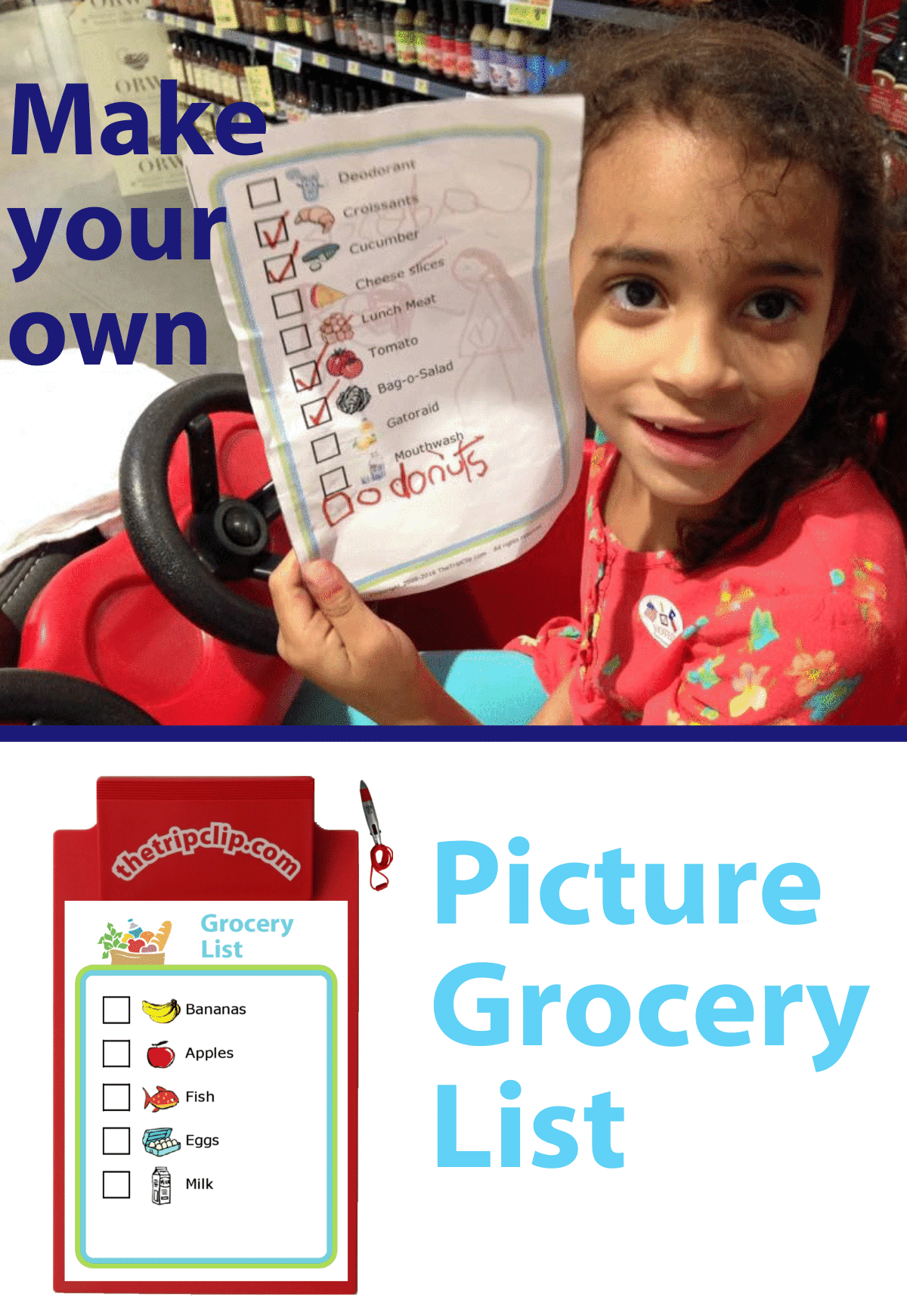 Girl in red grocery cart holding printed picture grocery list