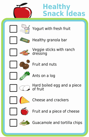 Picture checklist with healthy snack ideas for kids