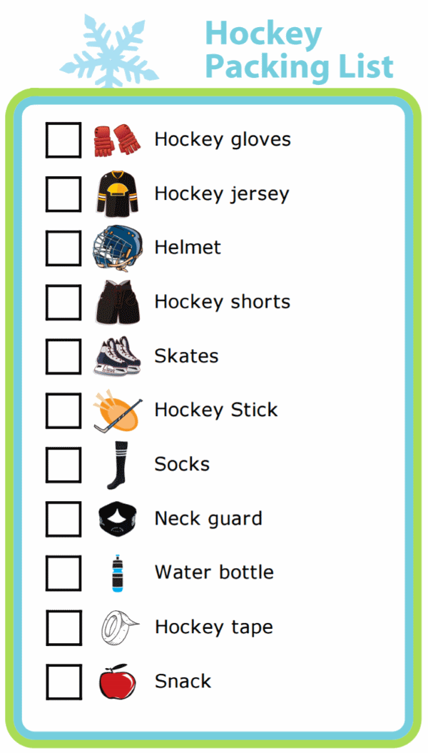 Picture checklist for making hockey packing list