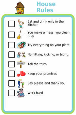 Picture checklist of family house rules