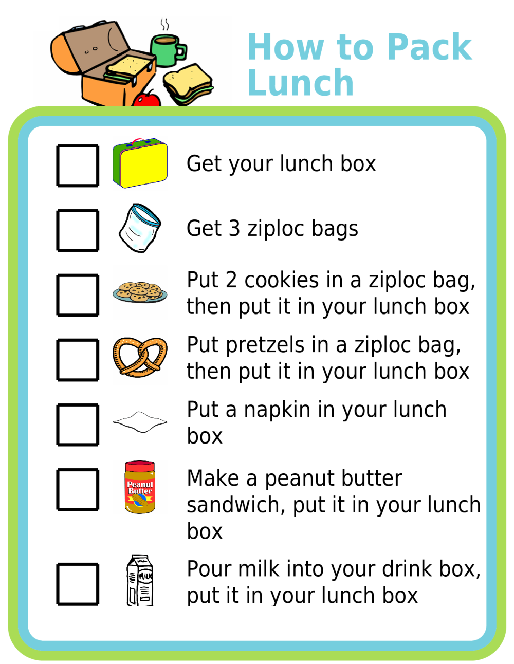 Picture checklist for how to pack lunch