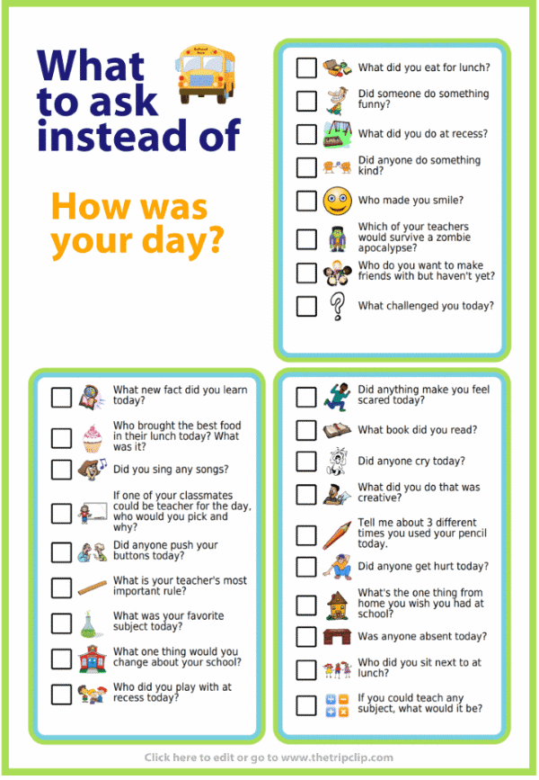 Picture checklist with ideas of what to ask instead of 'how was your day?'