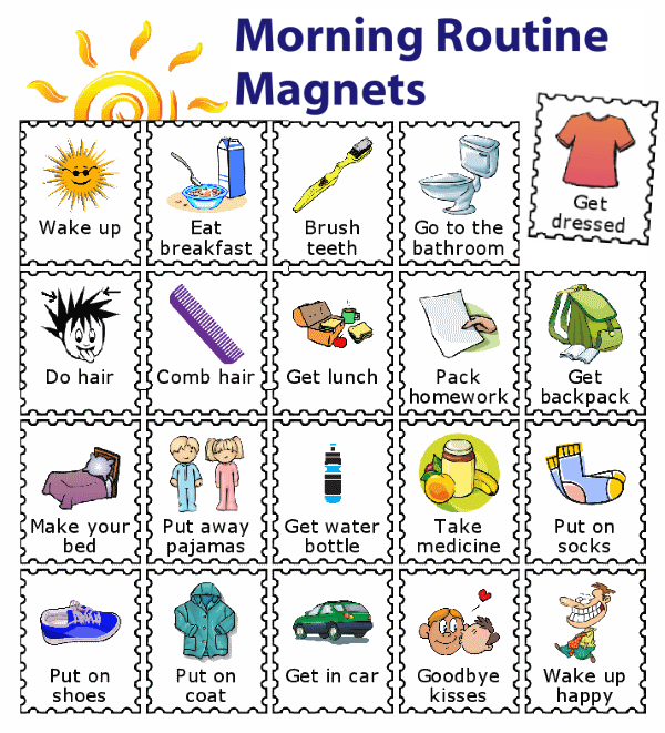 20 morning routine magnets for kids