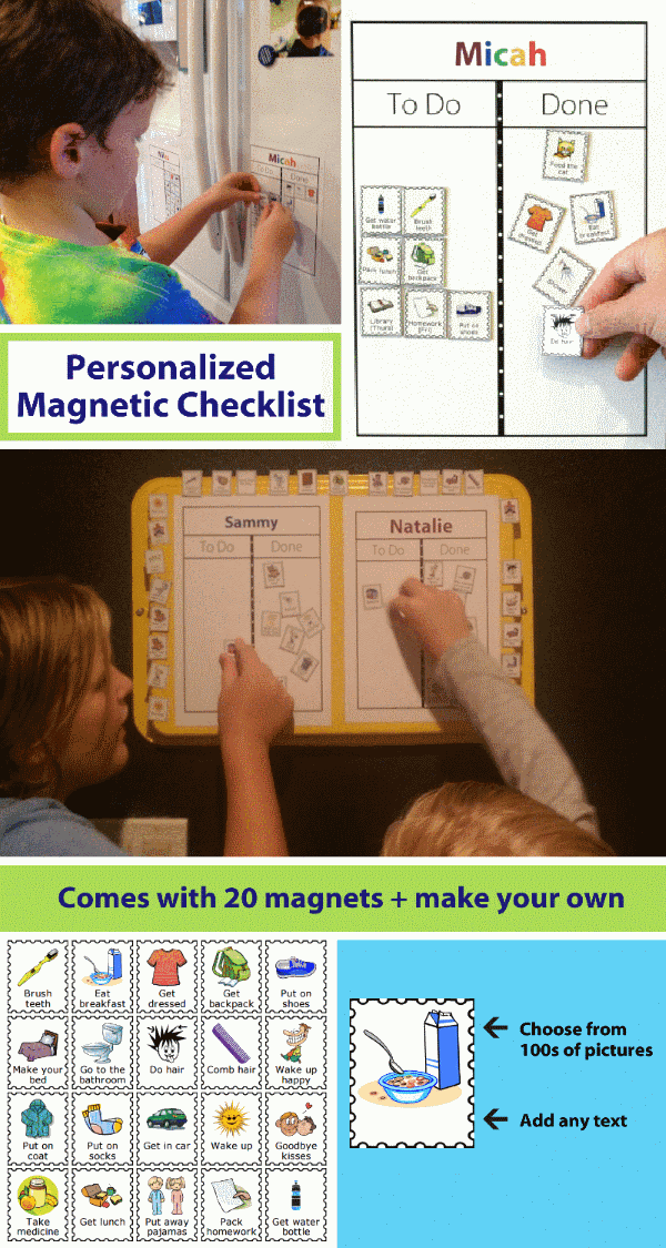 Children using personalized magnetic checklists. Comes with 20 picture magnets and ability to make your own.