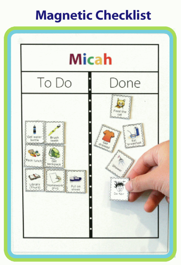 White magnetic To Do / Done Board with Micah in rainbow colors