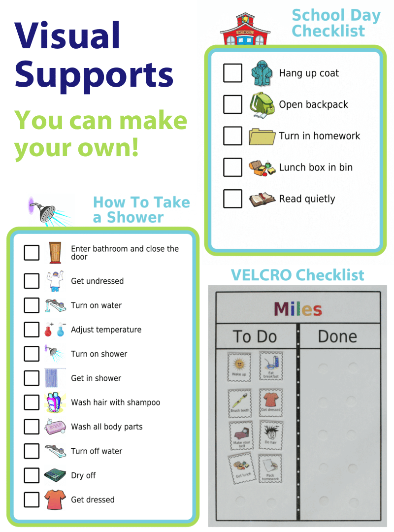 Create a visual checklist with The Trip Clip® to provide some routine to a child with Autism, Asperger's, or ADHD.