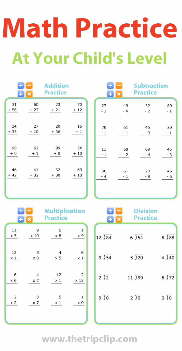 Printable Math Practice, Automatically Generated at Your ...