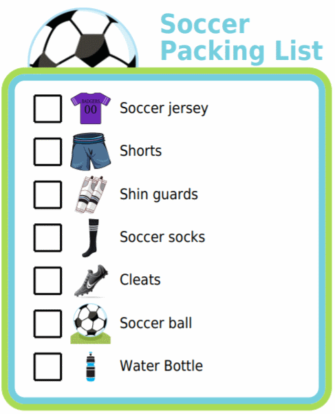 Picture checklist for making a soccer packing list