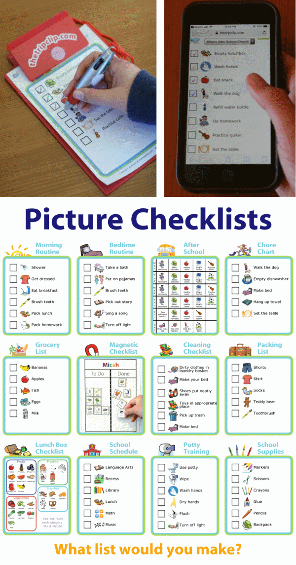 kid-sized clipboard or phone with lots of different picture checklists