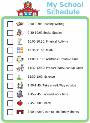 Picture checklist of a school schedule for kids