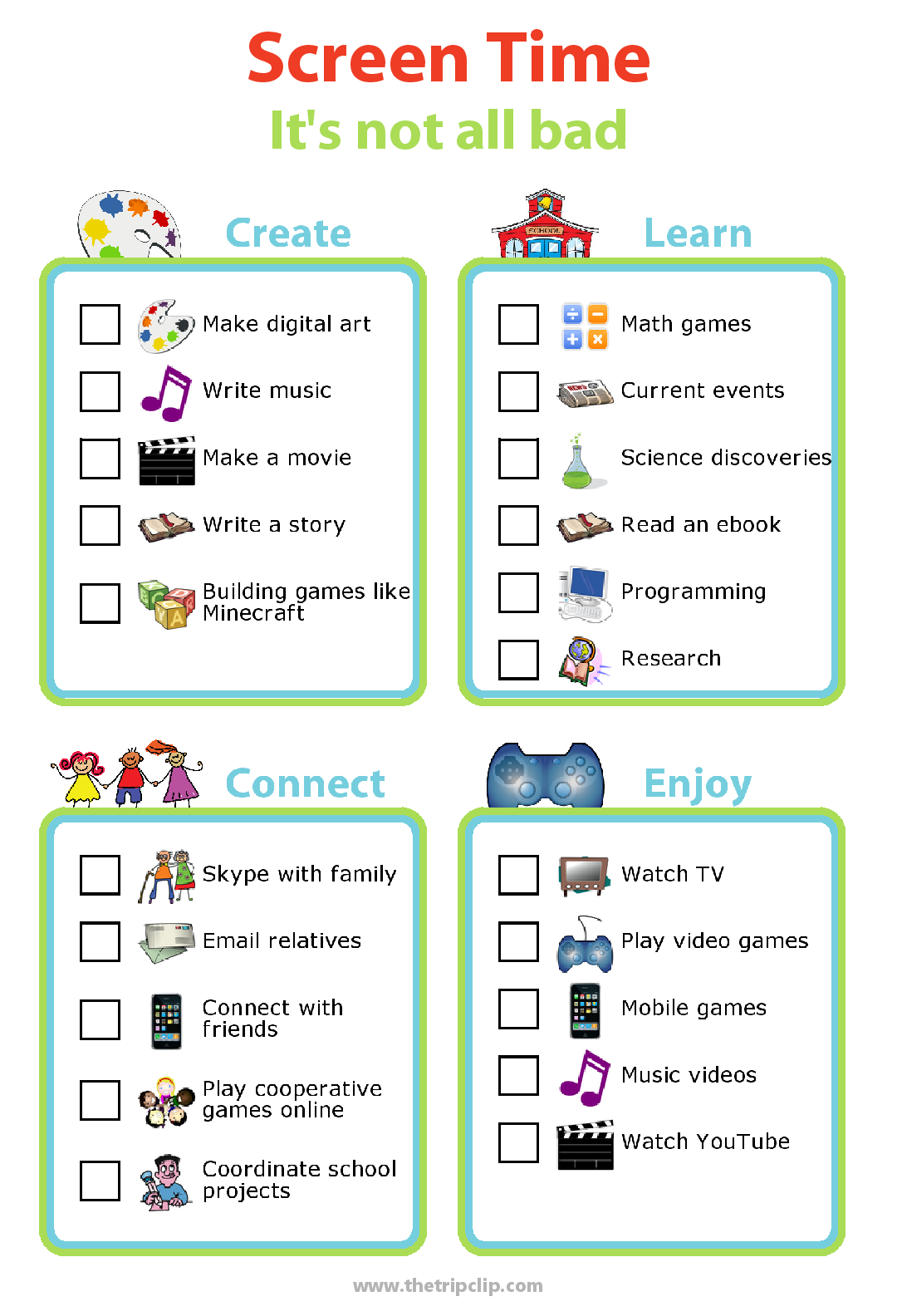 Picture checklists for optimizing screen time. Use screens to create, learn, connect, and entertain.
