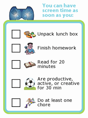 Picture checklist for after school screen time rules for kids