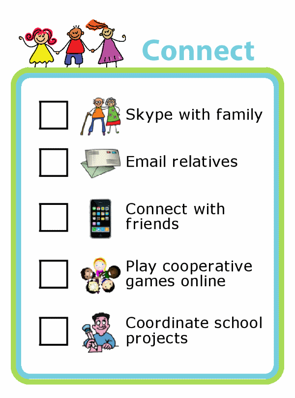 Picture checklist with ideas for using screentime to connect with family
