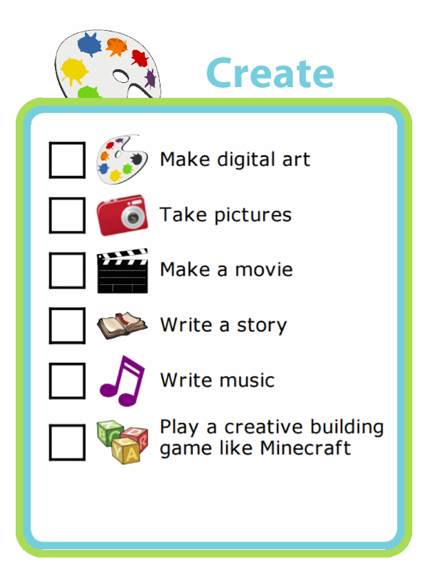 Picture checklist with ideas for using screentime for creativity