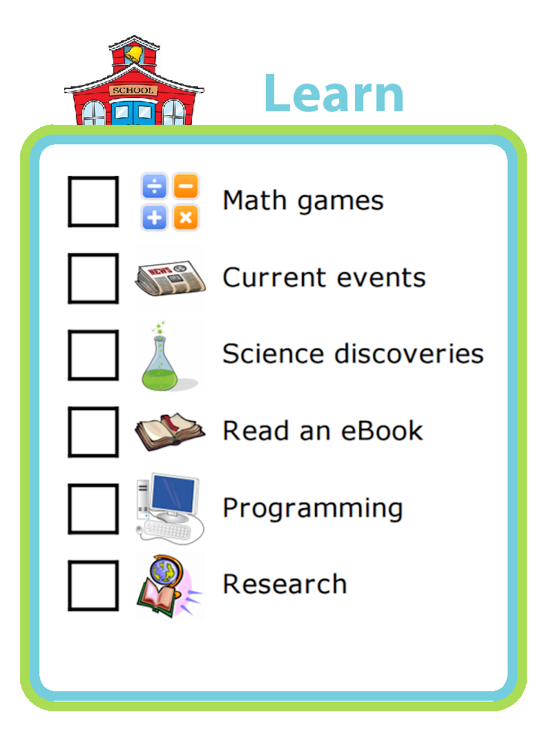Picture checklist with ideas for using screentime for learning