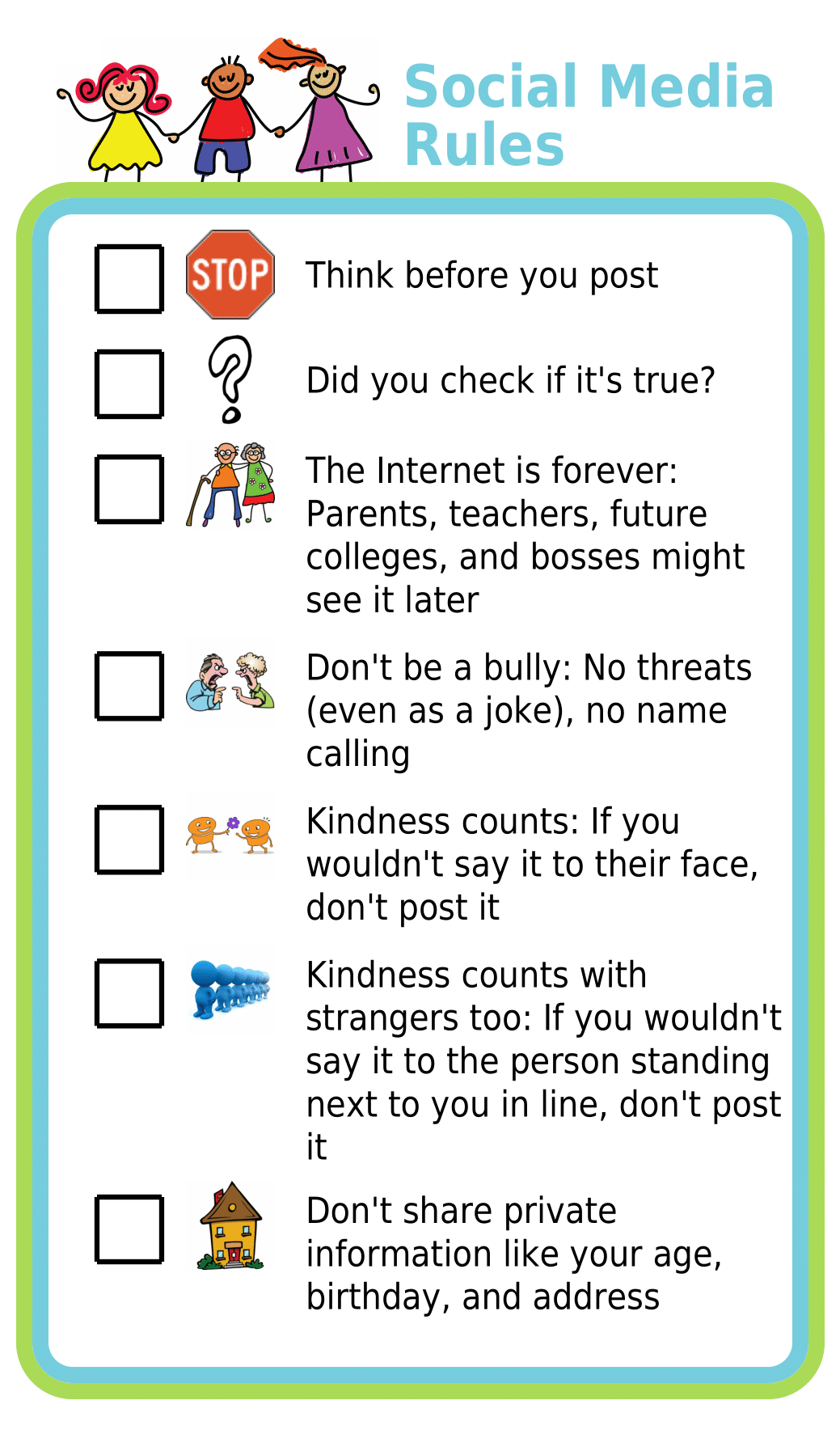 Picture checklist showing social media rules