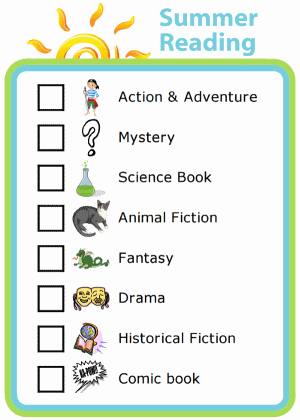 Picture checklist of a summer reading challenging with reading suggestions by genre