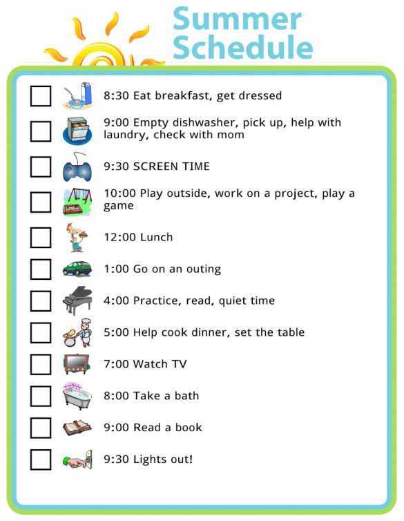 Picture checklists of a schedule for summer days with kids