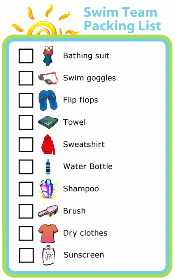 Picture checklist for making swim team packing list