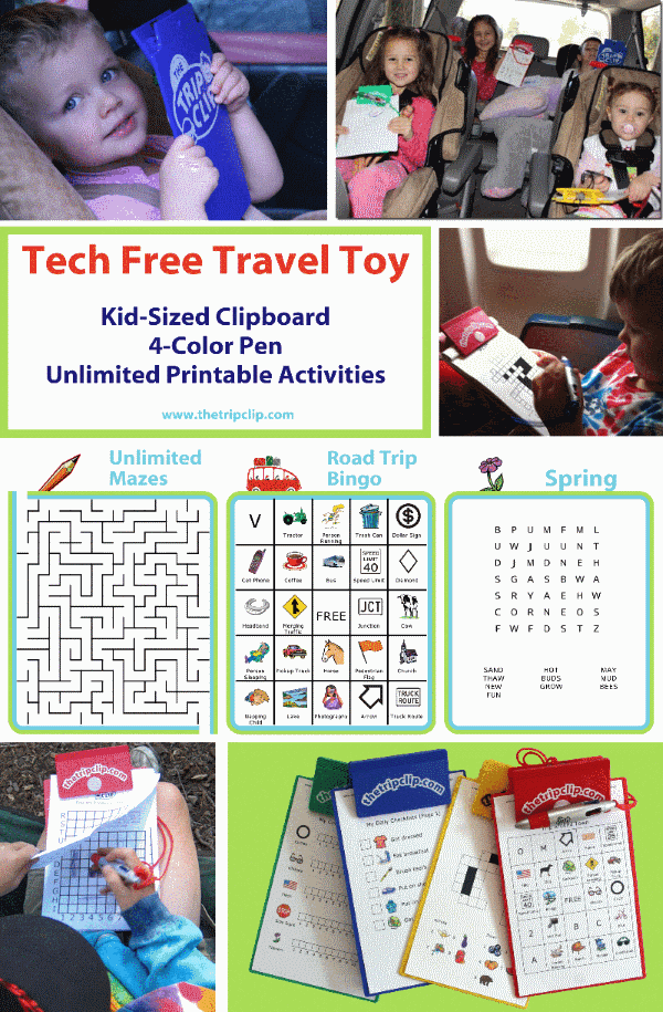 This clipboard and attached pen come with a wide variety of customizable, printable activities that will keep your kids entertained on your next trip, or even just running errands around town!