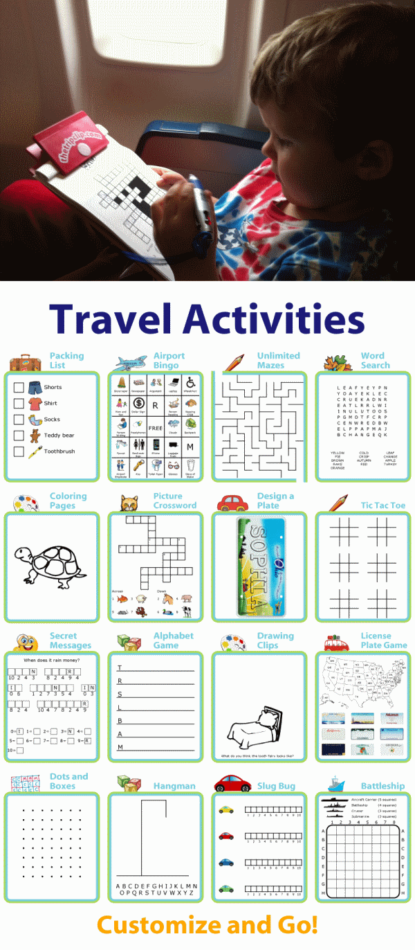Printable travel activities: packing list, BINGO, mazes, word search, coloring, crosswords, license plates and more