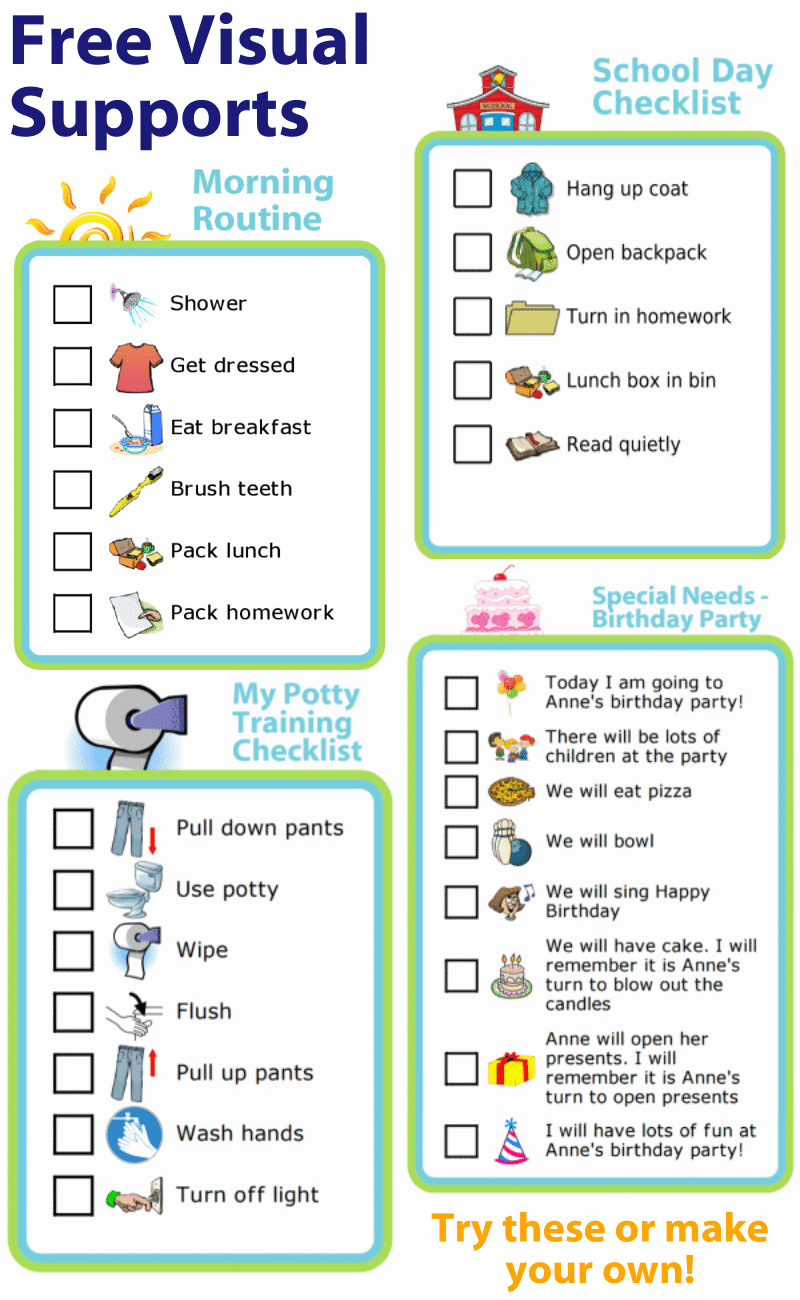 Make your own special needs checklists - how to shower, school schedule, hook & loop morning routine