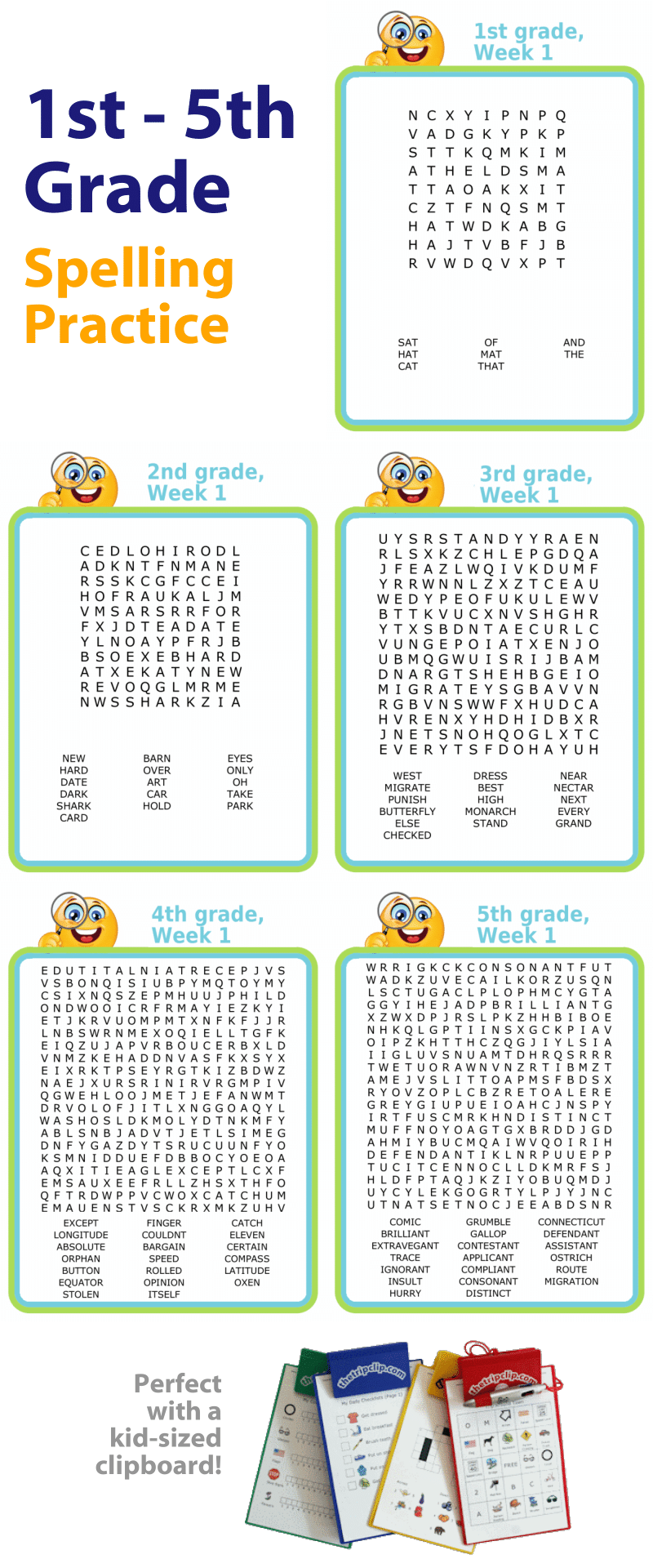 First through fifth grade spelling word search puzzles for kids