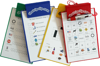 6x9 clipboard with attached pen and printable travel activities for kids on trips and errands.